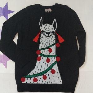 Christmas llama ugly sweater black